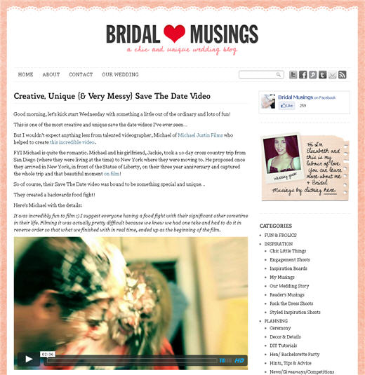 Michael Justin Films on Bridal Musings